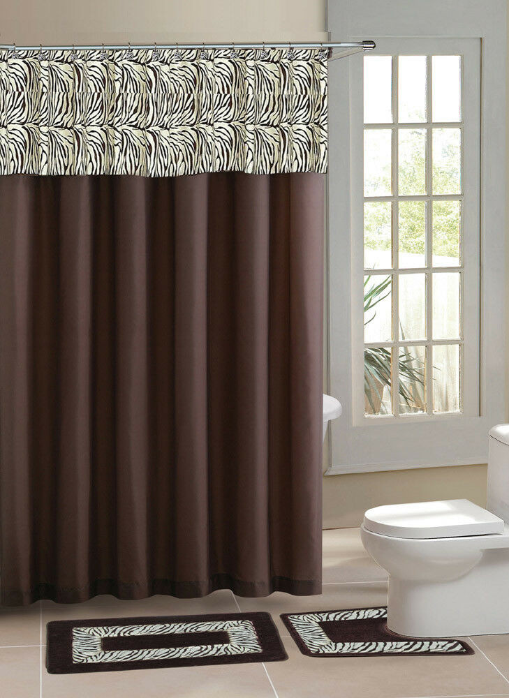 Best ideas about Bathroom Sets With Shower Curtain . Save or Pin Brown Zebra Stripe Shower Curtain 15 Pcs Bath Rug Mat Now.