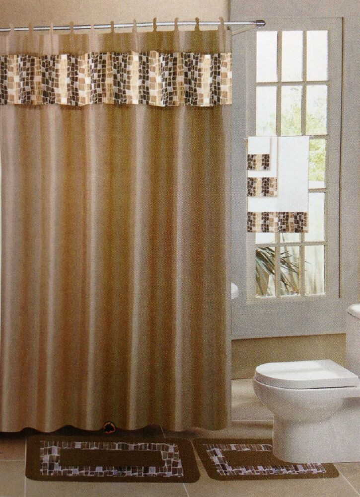 Best ideas about Bathroom Sets With Shower Curtain . Save or Pin Mosaic Taupe & Gold 15 Piece Bathroom Accessory Set 2 Bath Now.