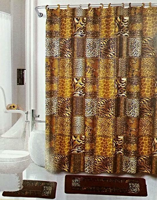 Best ideas about Bathroom Sets With Shower Curtain . Save or Pin Safari Brown 15 Piece Bathroom Set Animal Print Bath Rugs Now.