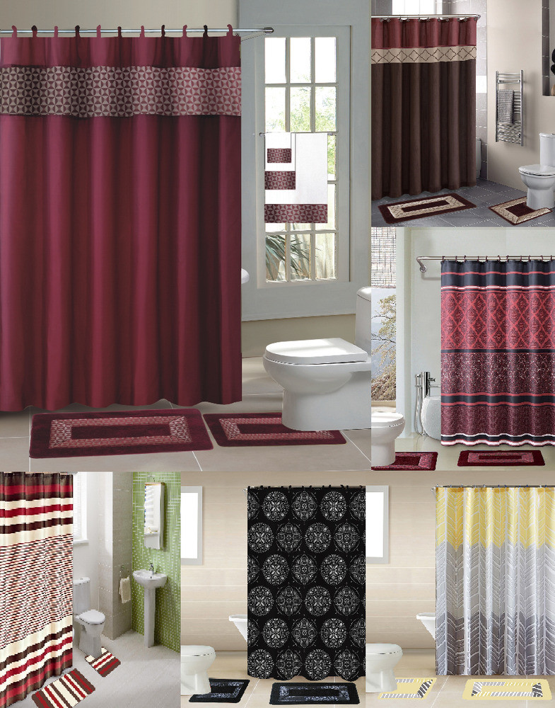 Best ideas about Bathroom Sets With Shower Curtain . Save or Pin 15PC SHOWER CURTAIN FABRIC HOOKS BATH MATS RUGS PLETE Now.