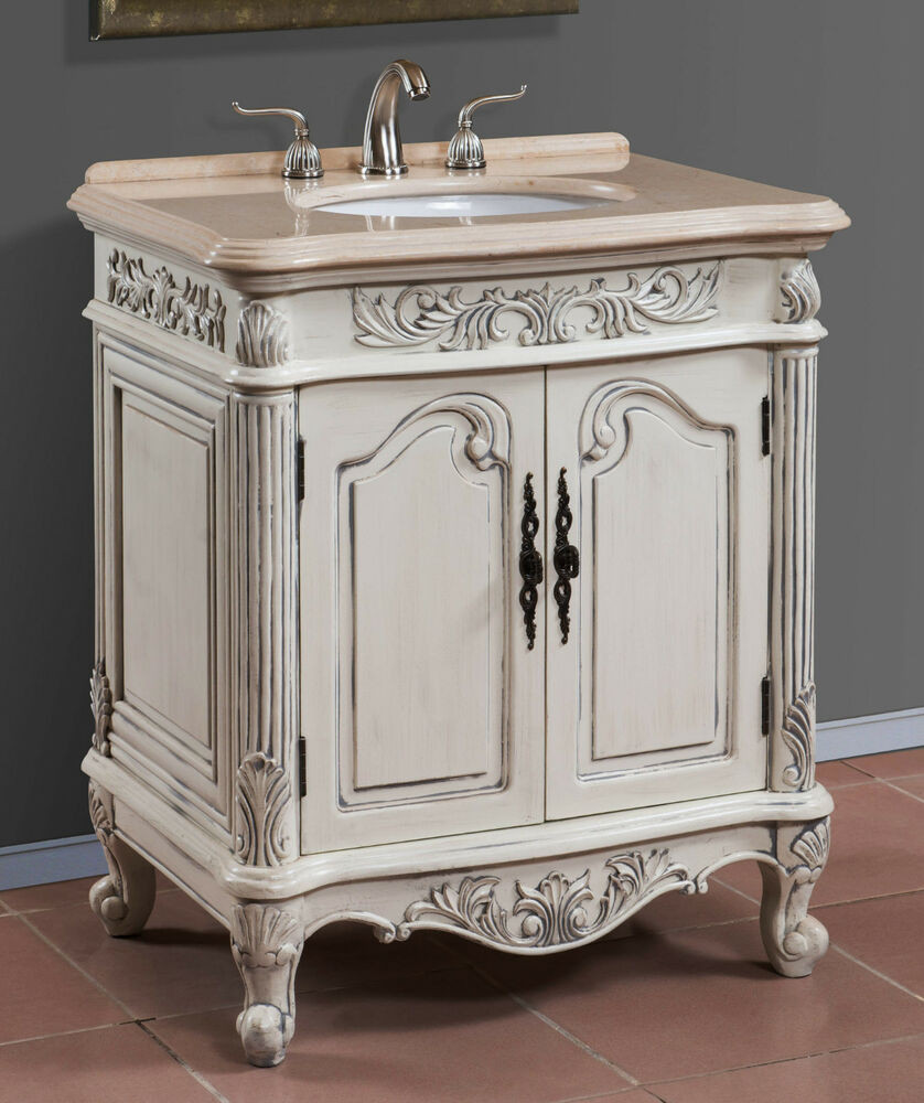 Best ideas about Bathroom Vanity 30 Inch . Save or Pin 30 Inch Antique White Single Sink Bath Vanity with Cream Now.