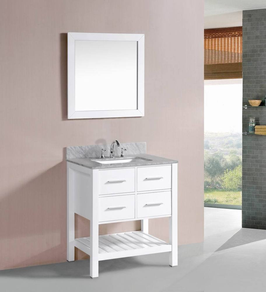 Best ideas about Bathroom Vanity 30 Inch . Save or Pin 30 inch Belvedere White Bathroom Vanity w Marble Top Now.