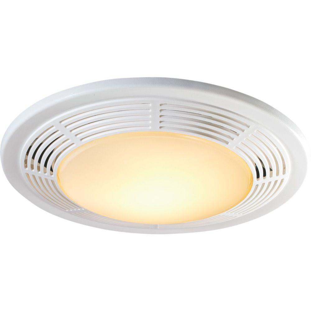 Best ideas about Bathroom Vent Fan With Light . Save or Pin Decorative White 100 CFM Ceiling Exhaust Fan with Light Now.