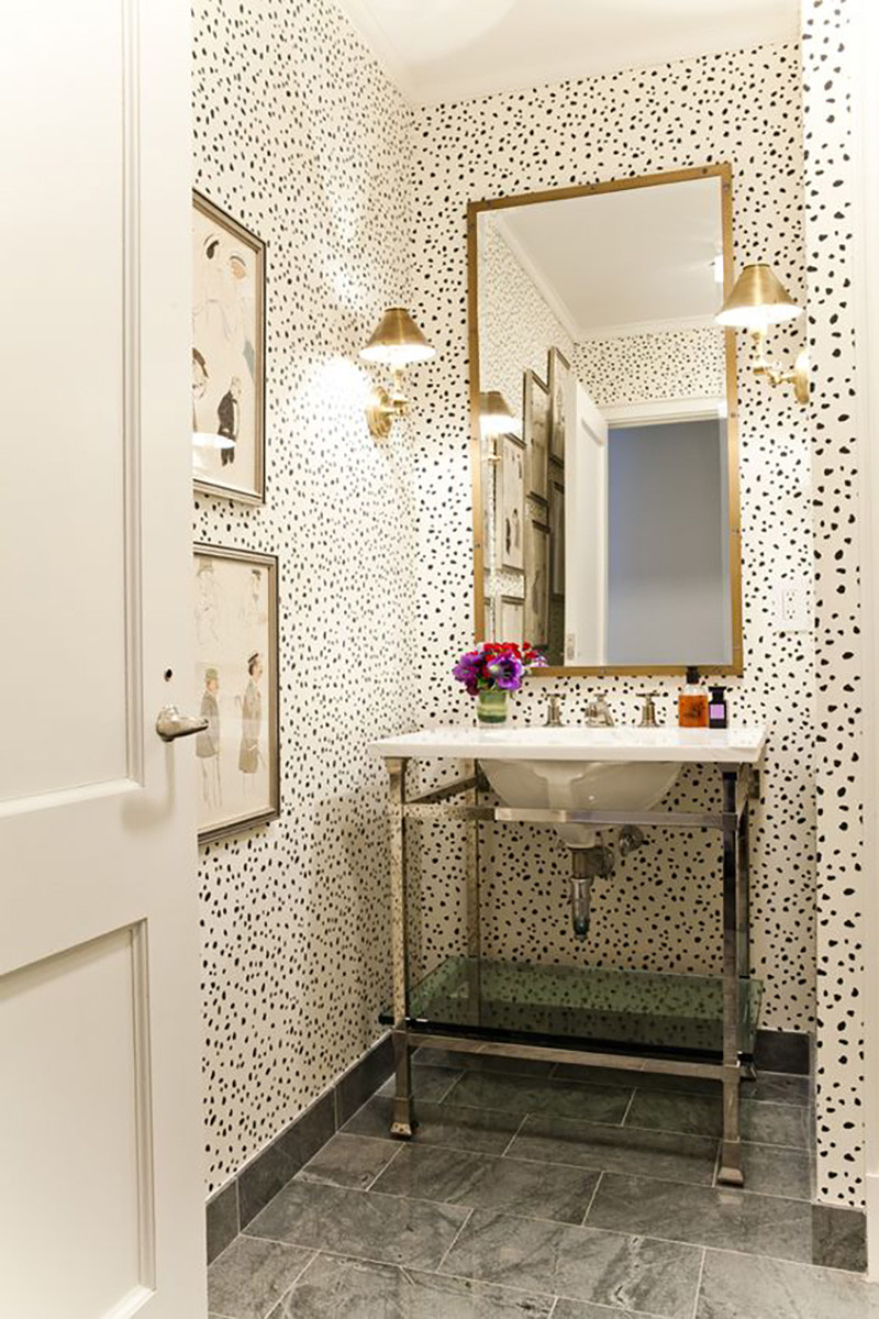 Best ideas about Bathroom Wall Paper . Save or Pin Small Powder Room Ideas – Amber Interiors Now.