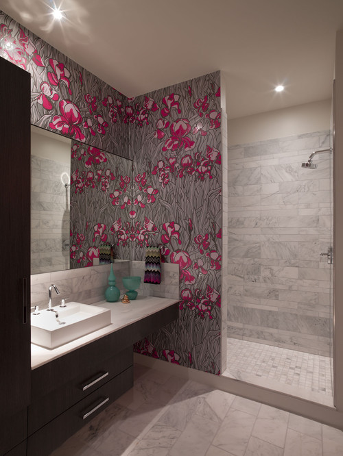 Best ideas about Bathroom Wall Paper . Save or Pin wallpaper in bathroom Now.
