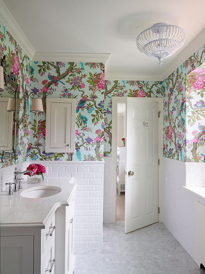 Best ideas about Bathroom Wall Paper . Save or Pin 10 Bathroom Wallpaper Designs Bathroom Designs Now.