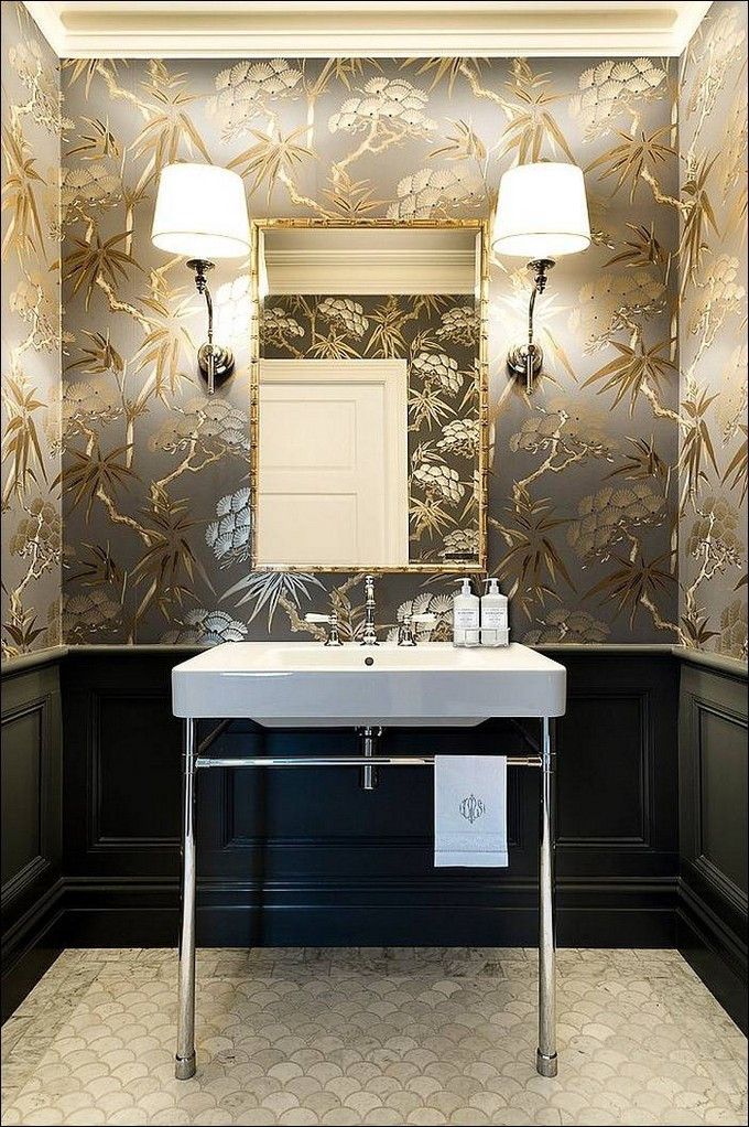 Best ideas about Bathroom Wall Paper . Save or Pin Gorgeous Wallpaper Ideas for your Modern Bathroom Now.