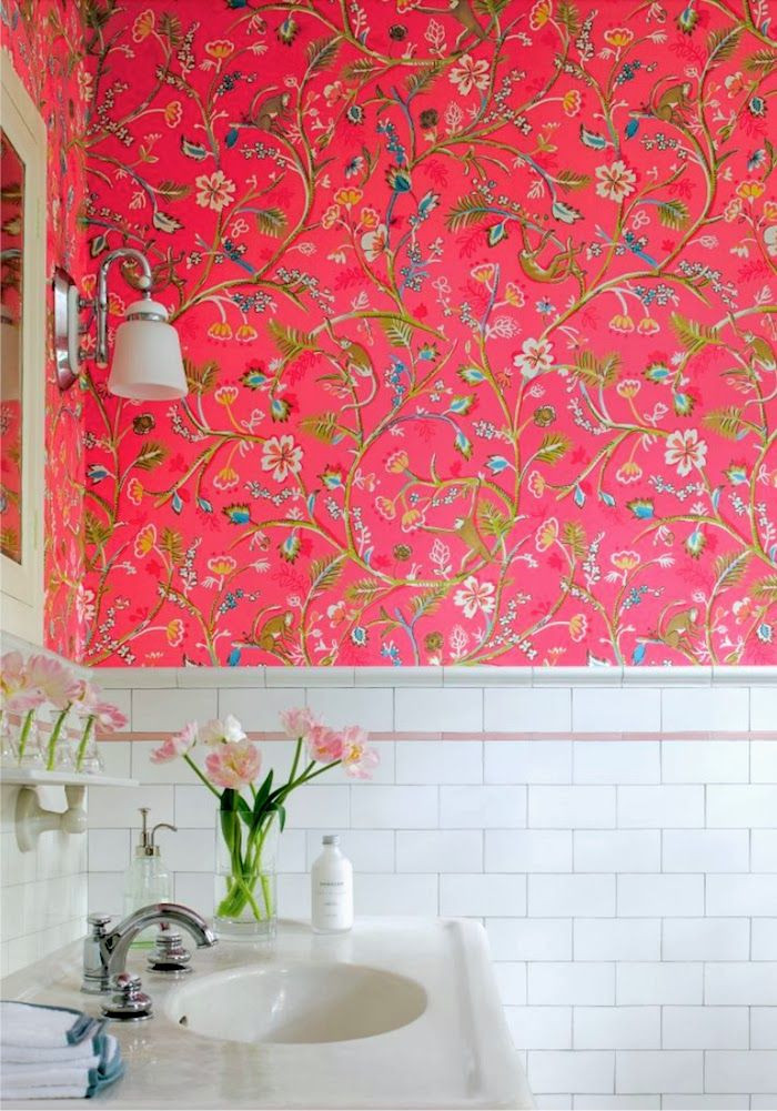 Best ideas about Bathroom Wall Paper . Save or Pin Wallpaper in bathrooms BabyMac Now.