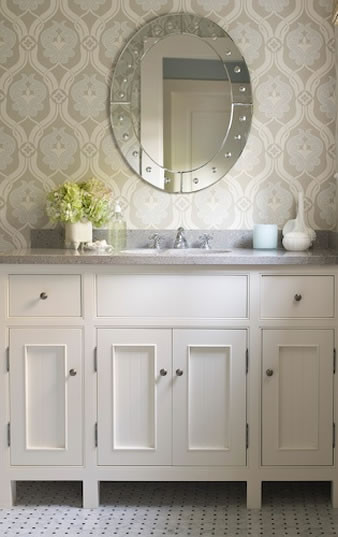 Best ideas about Bathroom Wall Paper . Save or Pin Blue and Gray Wallpaper Traditional bathroom James Now.