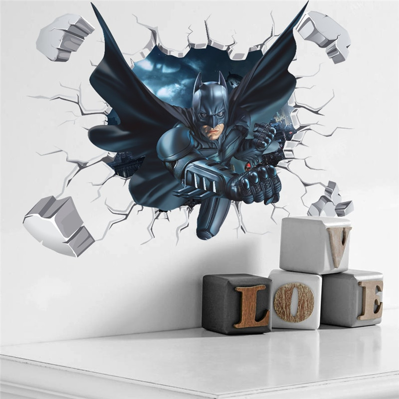 Best ideas about Batman Wall Art . Save or Pin 3d Effect Batman Wall Sticker For Kids Boys Rooms Home Now.