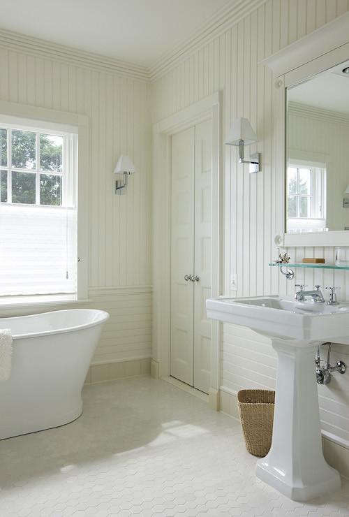 Best ideas about Beadboard In Bathroom . Save or Pin Bathroom with Beadboard Backsplash Cottage Bathroom Now.