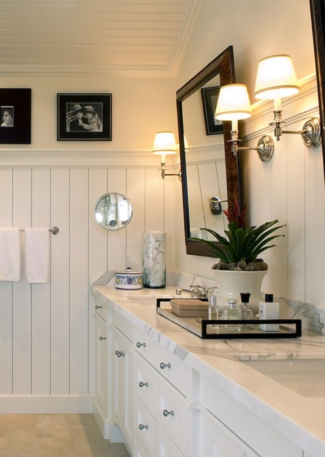Best ideas about Beadboard In Bathroom . Save or Pin White bathroom beadboard He needs a touch of masculine Now.