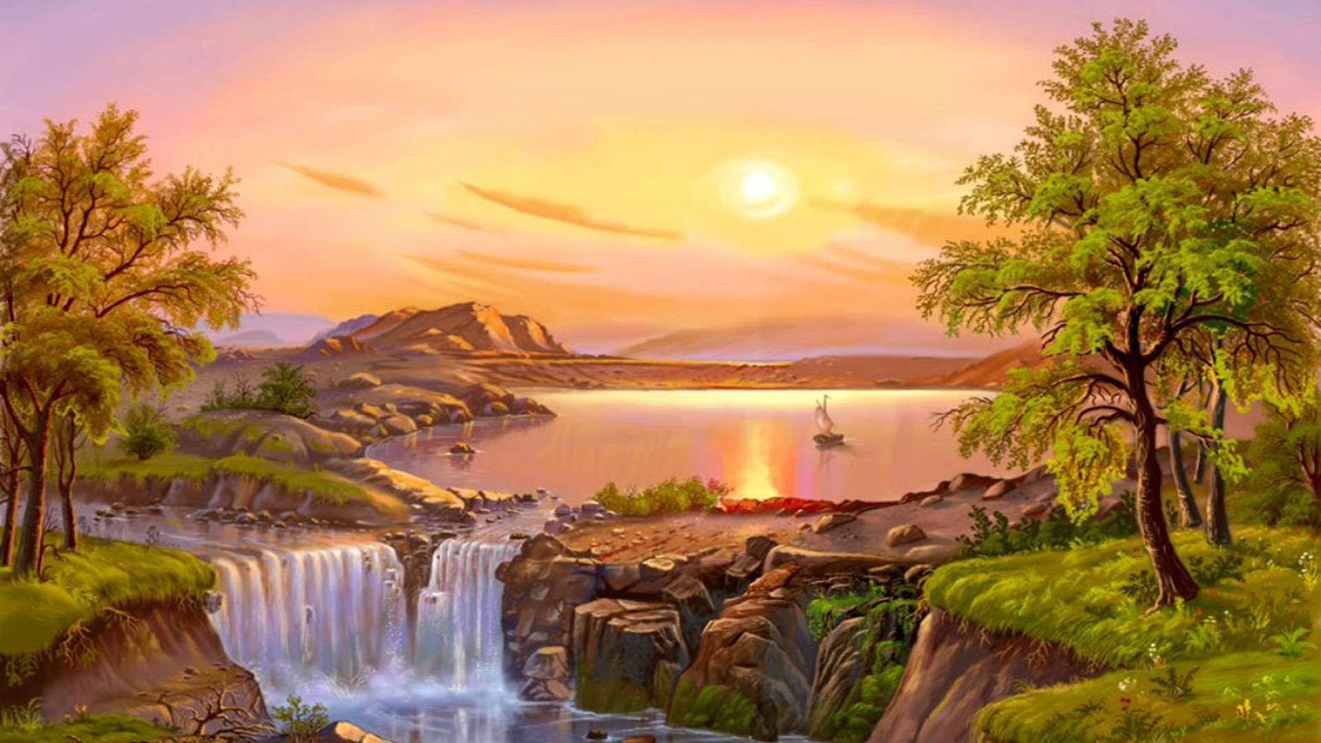 Best ideas about Beautiful Landscape Pictures . Save or Pin Beautiful Landscape River Trees Waterfall Sun Now.