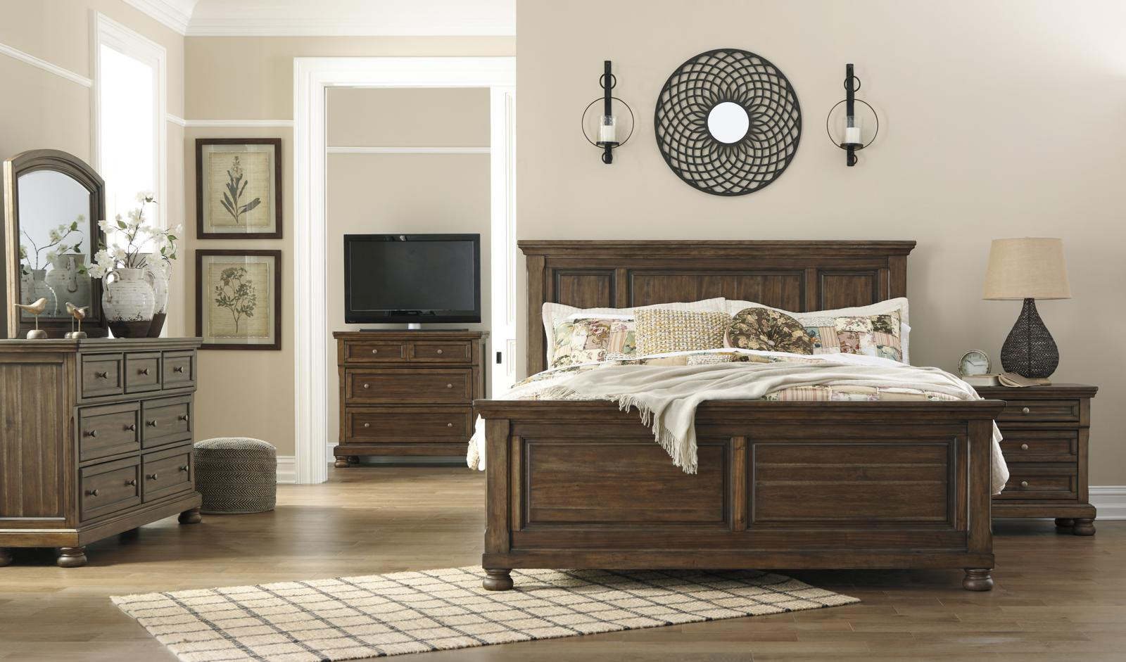 Best ideas about Bedroom Furniture Discounts . Save or Pin Flynnter 4pc Panel Bedroom Set in Medium Brown Now.