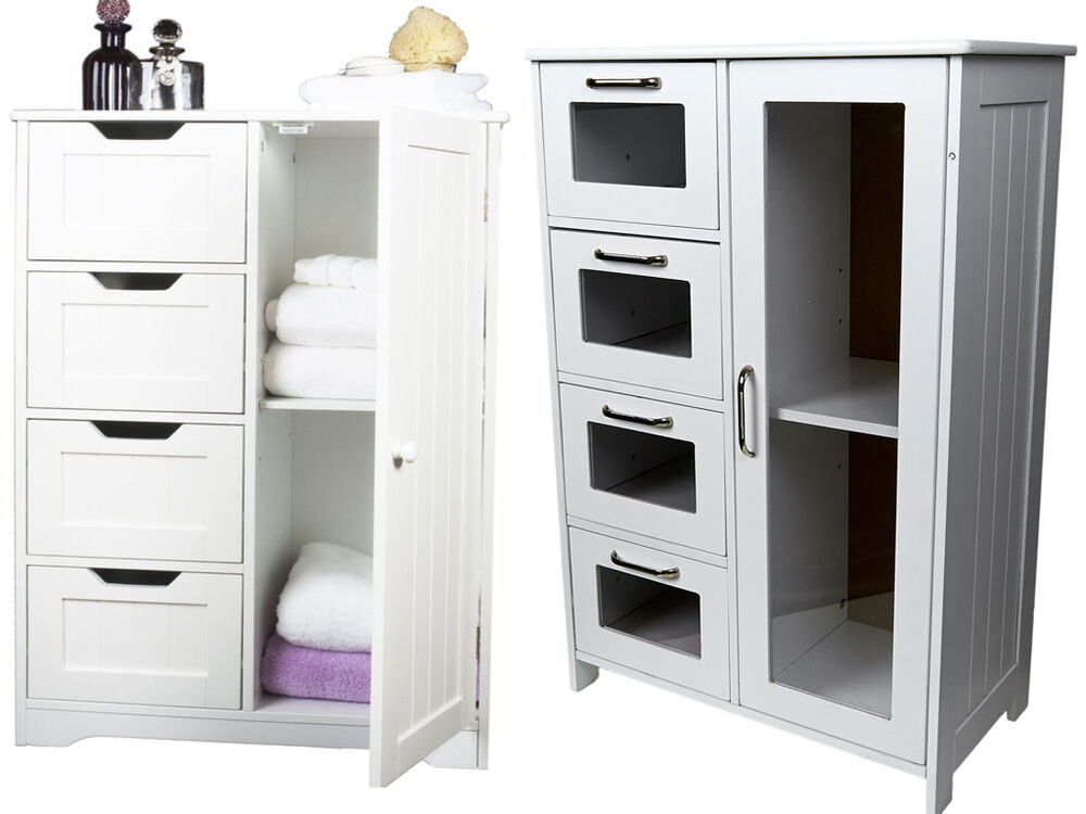 Best ideas about Bedroom Storage Cabinets . Save or Pin WHITE WOODEN CABINET W 4 DRAWERS GLASS & CUPBOARD Now.