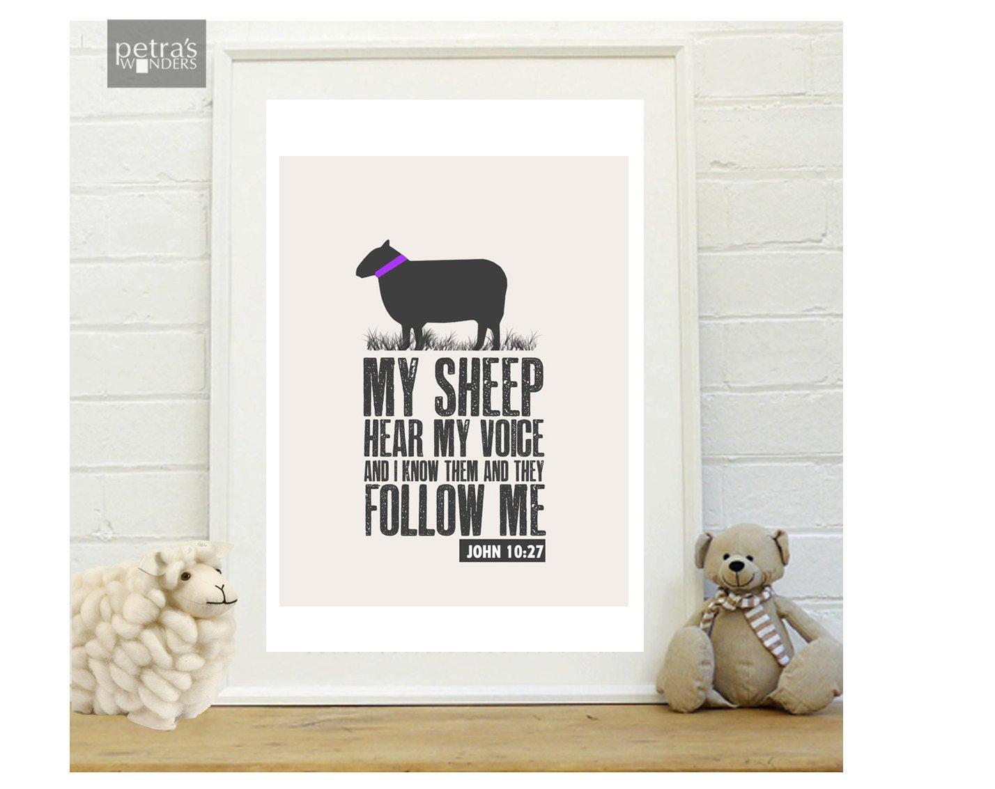 Best ideas about Bible Verse Wall Art . Save or Pin Sheep wall art Bible verse Print Scripture Art Print in a Now.