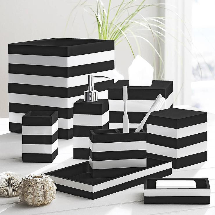 Best ideas about Black And White Bathroom Decor . Save or Pin Black and White Cabana Black by Kassatex Now.