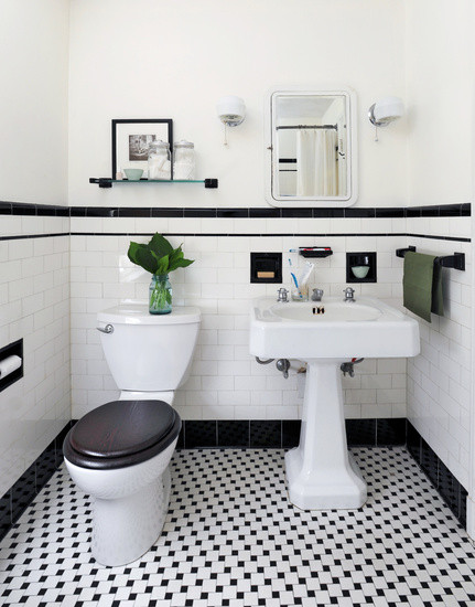 Best ideas about Black And White Bathroom Decor . Save or Pin Black and White Powder Room Vintage bathroom Ore Studios Now.