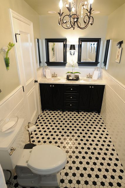 Best ideas about Black And White Bathroom Decor . Save or Pin 117 best Black & White Bathrooms images on Pinterest Now.