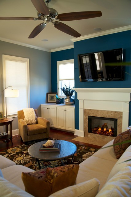 Best ideas about Blue Accent Wall Living Room . Save or Pin Transitional Living Room Contemporary Living Room Now.