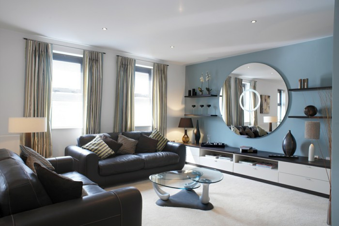 Best ideas about Blue Accent Wall Living Room . Save or Pin Ergonomic Living Room Design – Practical Tips Covers Now.