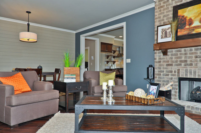 Best ideas about Blue Accent Wall Living Room . Save or Pin Blue Accent Wall Transitional Living Room Birmingham Now.