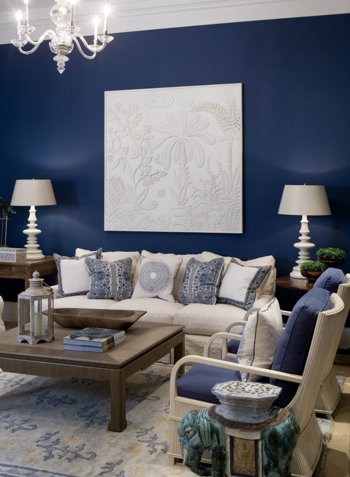 Best ideas about Blue Accent Wall Living Room . Save or Pin Small living room furniture sets navy blue for accent Now.