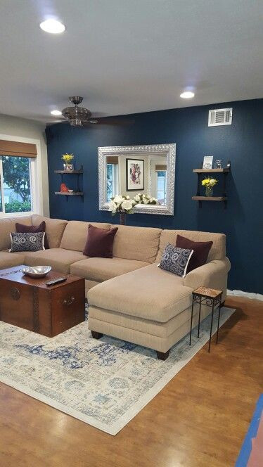 Best ideas about Blue Accent Wall Living Room . Save or Pin Blue paint color Seaworthy by Sherwin Williams Perfect Now.