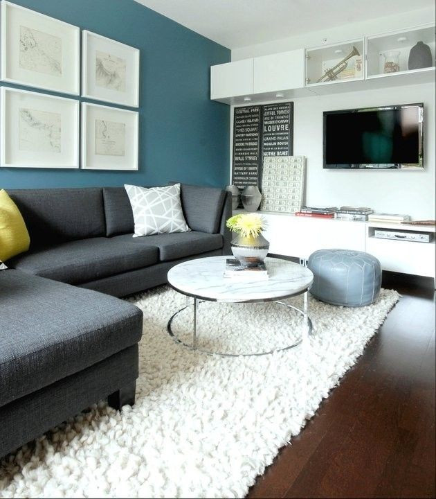 Best ideas about Blue Accent Wall Living Room . Save or Pin Charcoal Gray Sectional Sofa Foter … Now.