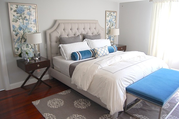 Best ideas about Blue And Grey Bedroom . Save or Pin Gray and Blue Bedroom Transitional bedroom Erin Now.
