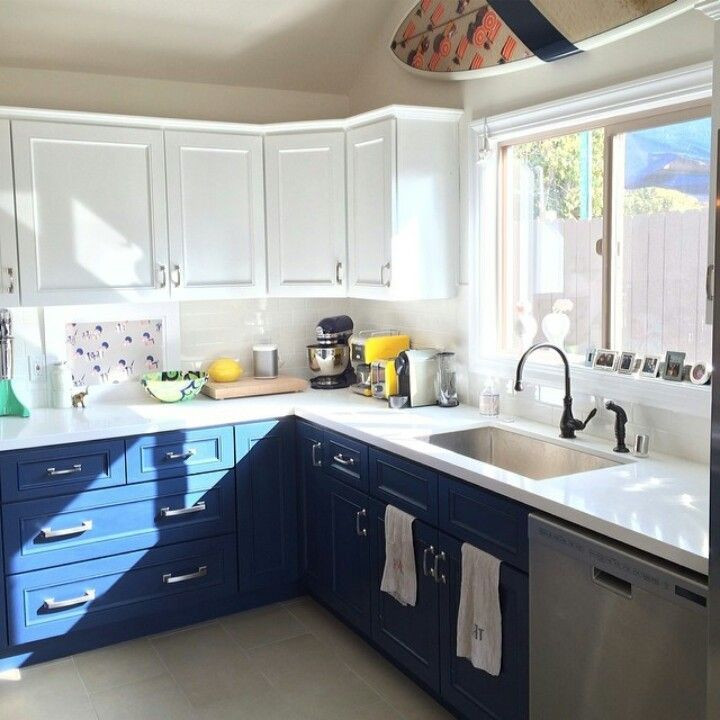 Best ideas about Blue And White Kitchen Ideas . Save or Pin 20 Kitchens With Stylish Two Tone Cabinets Now.