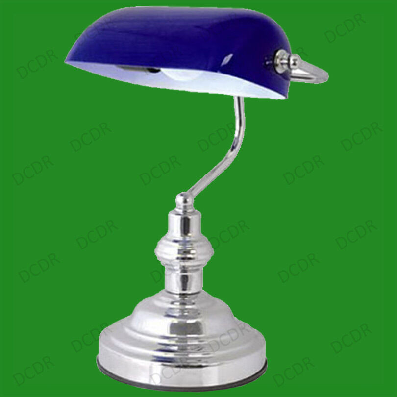 "Best ideas about Blue Desk Lamp . Save or Pin 15"" Advocate Bankers Desk Lamp Blue Glass Shade & Chrome Now."