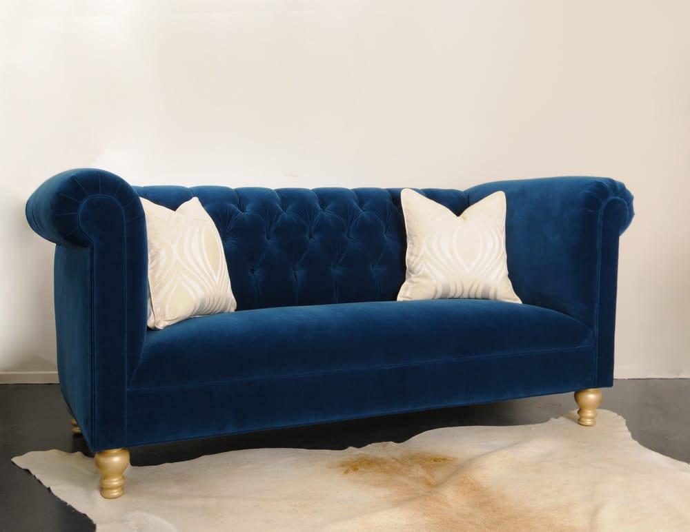 Best ideas about Blue Velvet Sofa . Save or Pin Custom Cobalt Blue Velvet Tufted Sofa Yelp Now.