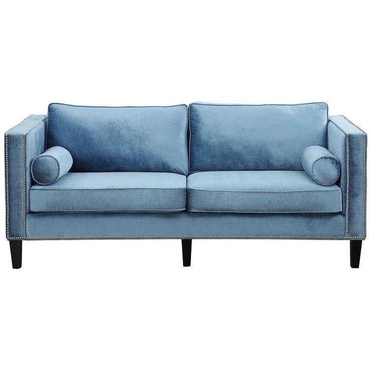 Best ideas about Blue Velvet Sofa . Save or Pin Cooper Blue Velvet Nailhead Trim Sofa Now.