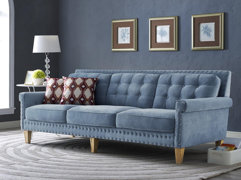 Best ideas about Blue Velvet Sofa . Save or Pin TOV Furniture Jonathan Blue Velvet Sofa S75 at Homelement Now.