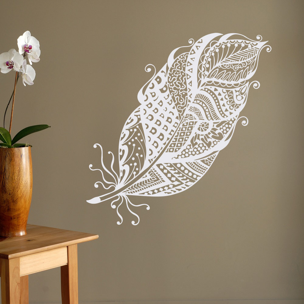 Best ideas about Boho Wall Art . Save or Pin Boho Feathers Wall Decal Feather Wall Decor Bohemian Bedroom Now.