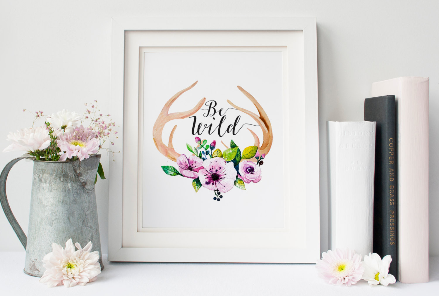 Best ideas about Boho Wall Art . Save or Pin Be Wild Boho wall decor Antler wall art inspirational quote Now.