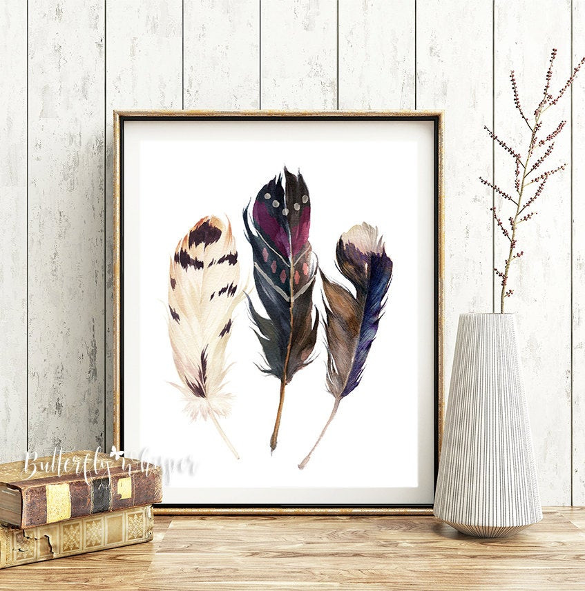 Best ideas about Boho Wall Art . Save or Pin Boho printable watercolor feathers wall art print Hippie wall Now.