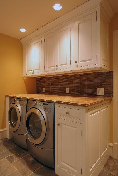 Best ideas about Brittney White Laundry Room . Save or Pin folding counter over washer and dryer Now.