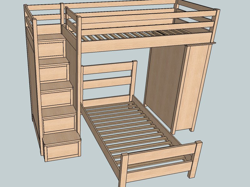 Best ideas about Bunk Bed Plans With Stairs . Save or Pin Twin Over Twin Bunk Beds 1 Background Sketchup Model Now.