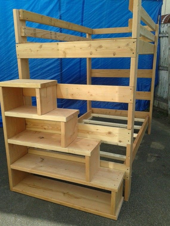 Best ideas about Bunk Bed Plans With Stairs . Save or Pin Full Size Loft Bed With Stairs Foter Now.