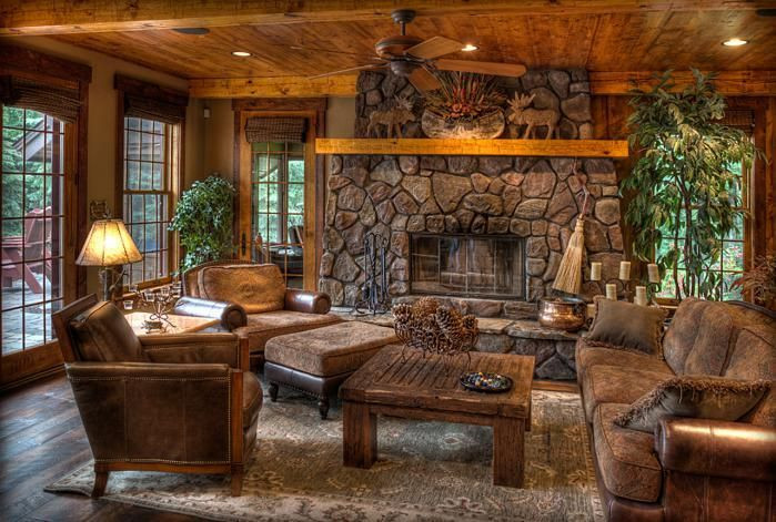 Best ideas about Cabin Living Room . Save or Pin Beautiful log cabin living room with stone fireplace Now.