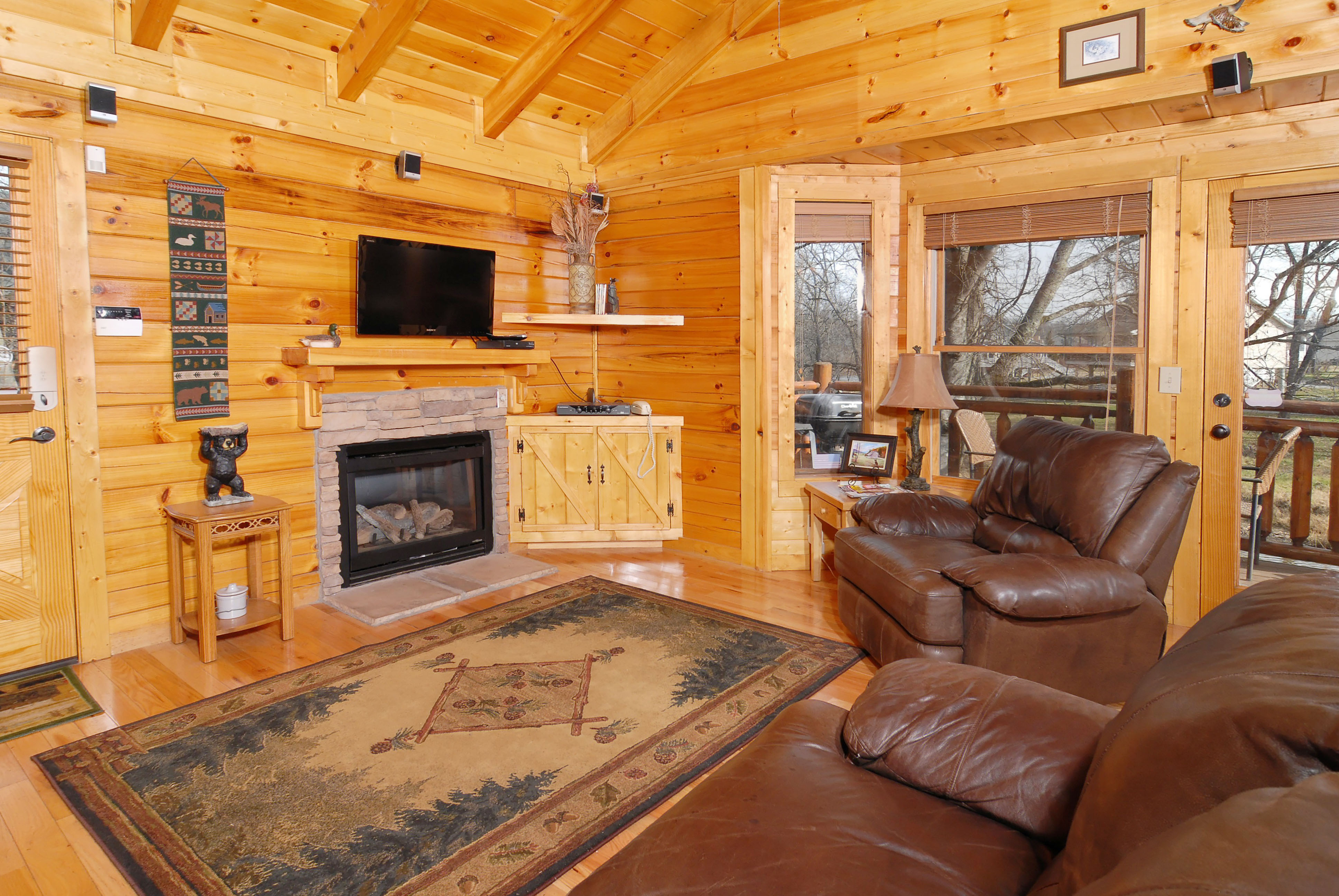 Best ideas about Cabin Living Room . Save or Pin Pigeon Forge Riverfront Two Bedroom Vacation Cabin Rental Now.