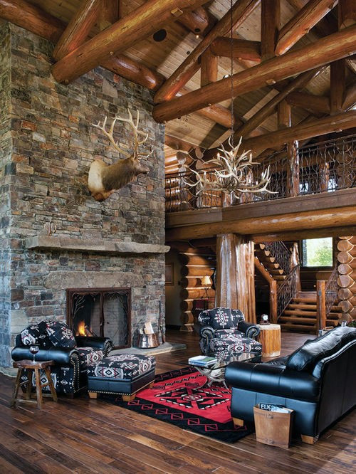Best ideas about Cabin Living Room . Save or Pin Top 70 Best Stone Fireplace Design Ideas Rustic Rock Now.