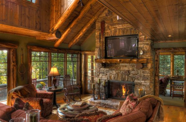 Best ideas about Cabin Living Room . Save or Pin The Pros And Cons Having A TV Over The Fireplace Now.
