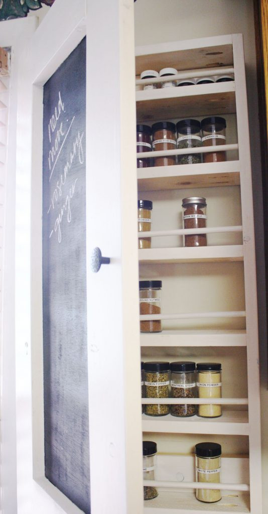 Best ideas about Cabinet Door Spice Rack DIY . Save or Pin Chalkboard Spice Rack Shanty 2 Chic Now.