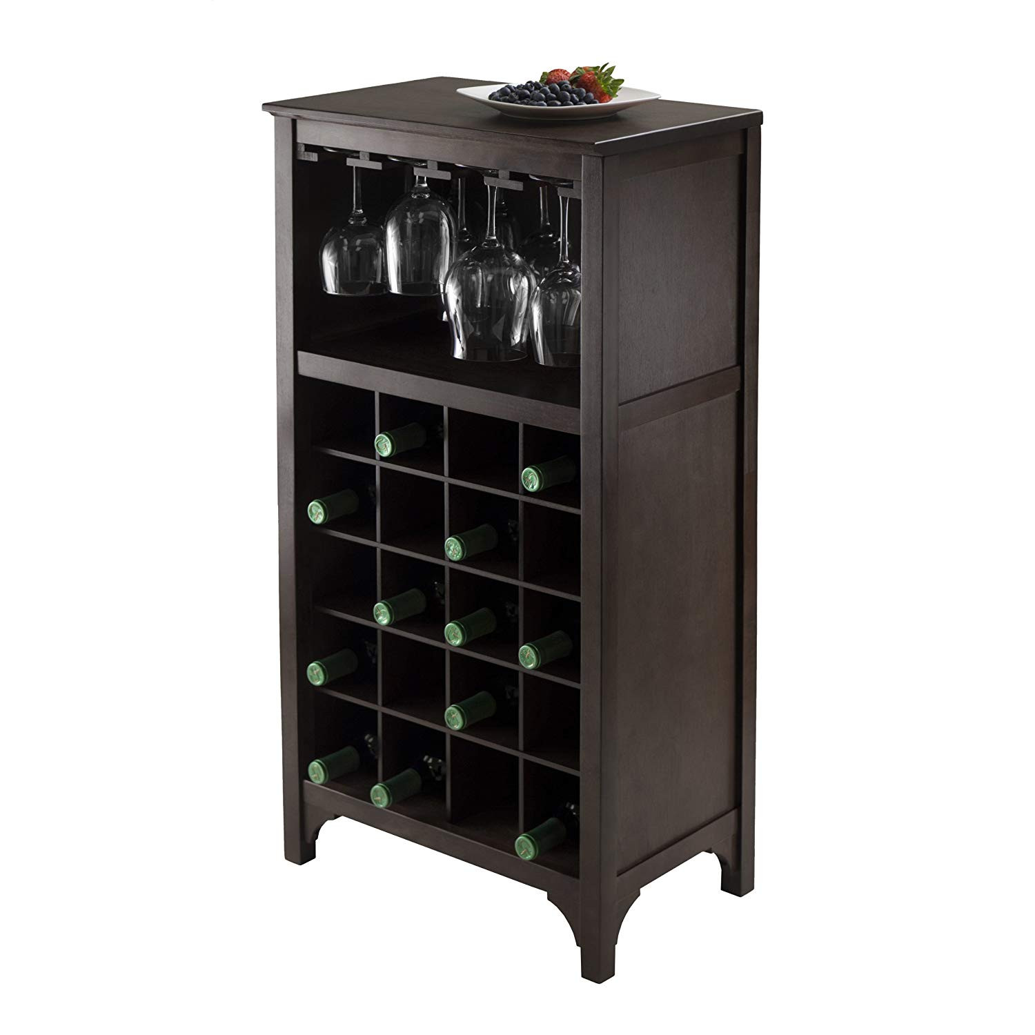 Best ideas about Cabinet With Wine Rack . Save or Pin Wine Storage Cabinet Dark Wood Bar 12 Glass 20 Bottles Now.