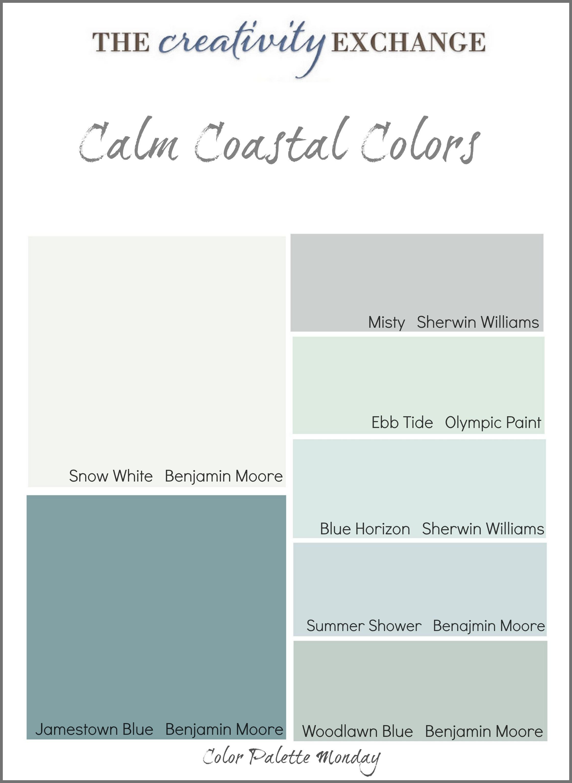 Best ideas about Calming Paint Colors . Save or Pin Calm Coastal Paint Colors Color Palette Monday Now.