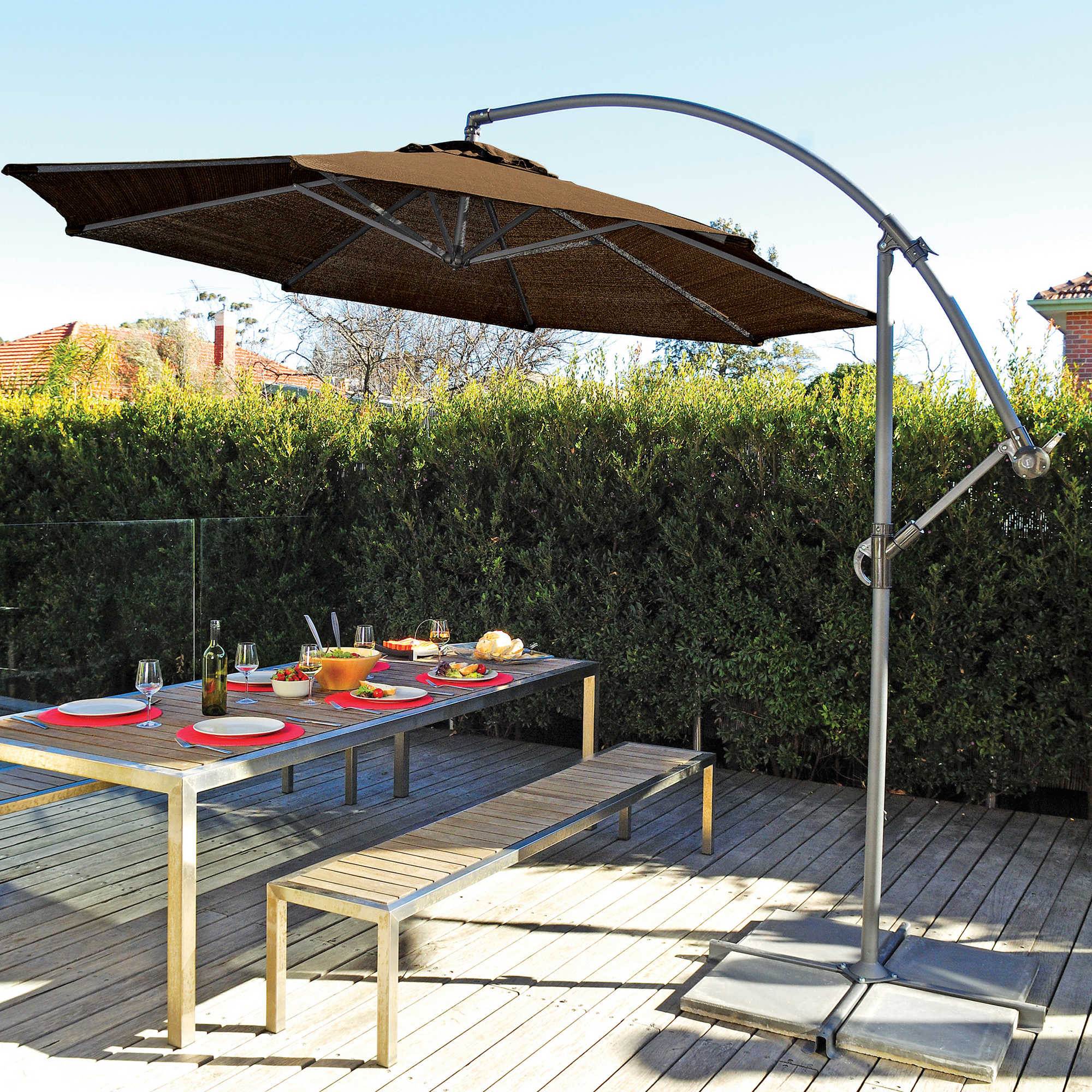 Best ideas about Cantilever Patio Umbrella . Save or Pin 10 Foot Round Cantilever Umbrella Patio Outdoor Dining Now.