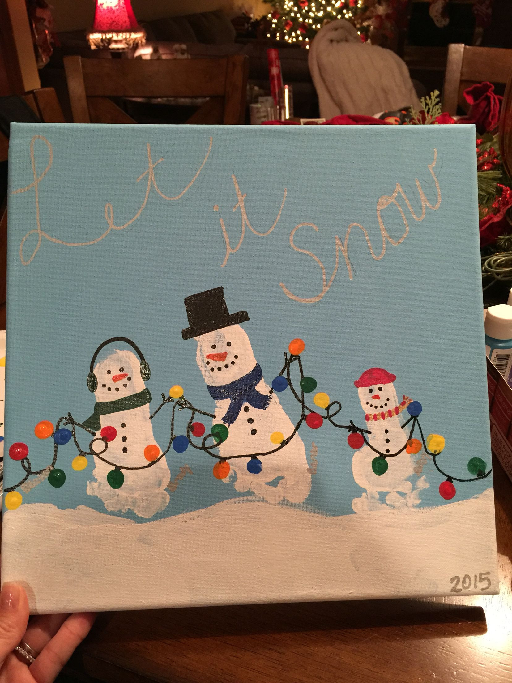 Best ideas about Canvas Crafts For Toddlers . Save or Pin Snowman Footprint canvas art Crafts Now.